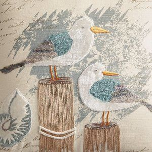"Pier 1 Accents - Pier1 Coastal Seagulls on Pier 14"" Pillow Nautical"